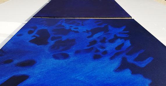 Blaues Rauschen,a9x 0,4x0,4m,Acryl a.Leinwand,Serie 540€