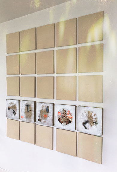 """Aberglaube"" Collage a.Leinen"