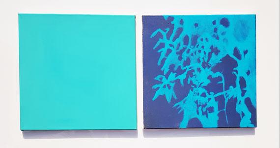Blaues Rauschen,a 0,4x0,4m,Acryl a.Leinwand,Serie