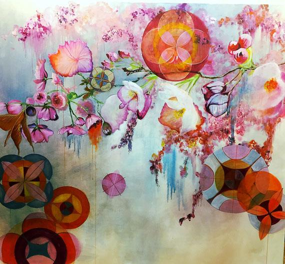 """Rosa Prosa""   1,6mx1,4m   Acryl a.Canvas,   1200€"