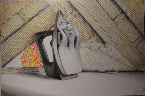 zu heiss gebügelt 2. 2014 Buntstift Bleistift 42 x 29