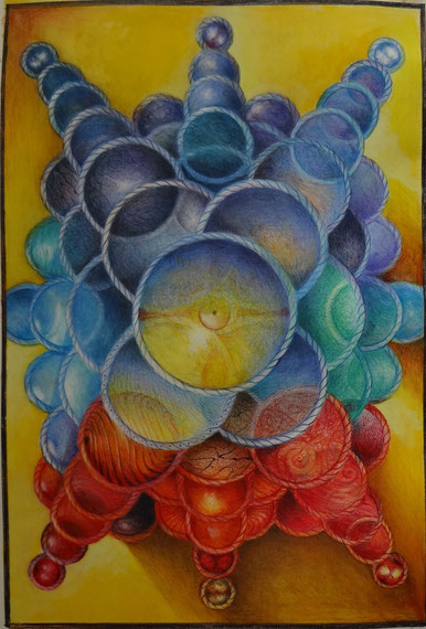 Tanz der Atome 1.2014  Buntstift 42 x 30  2. Ansicht