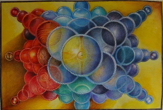 Tanz der Atome 1.2014  Buntstift 42 x 30  250.-€