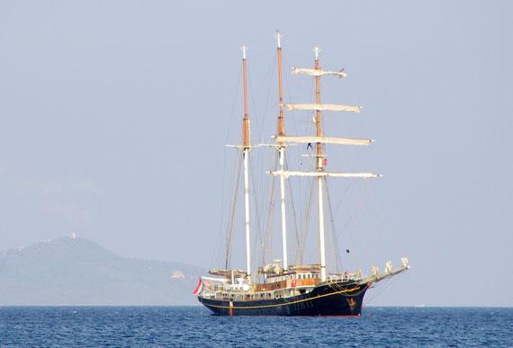Le Gulden Leeuw jeudi soir au port d'Hyéres, est arrivé le premier.