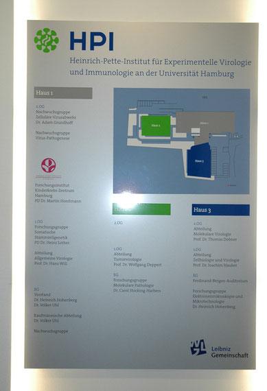 Hauswegweiser im Heinrich-Pette-Institut