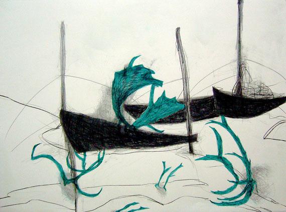 """""""Geister"""", Zeichnung auf Bütten, 76 x 57 cm, 12/2010"""