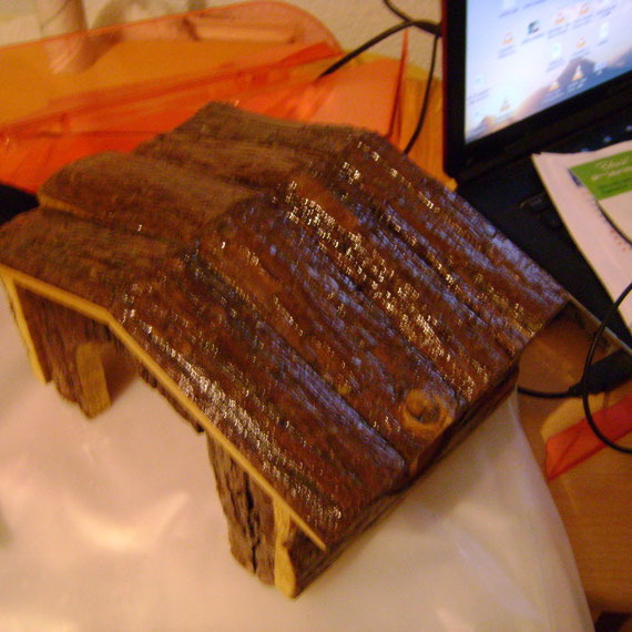 vernissage à la colle des divers éléments en bois qui seront dans la cage