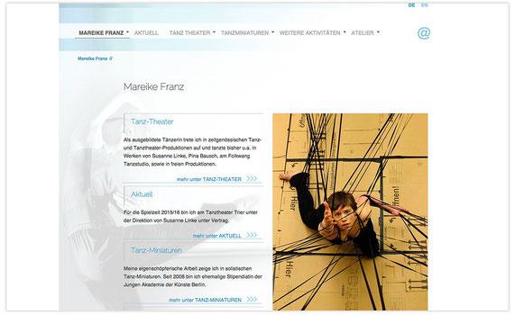 Website der Tänzerin Mareike Franz; WebDesign: Artwork3, Heidemarie Franz