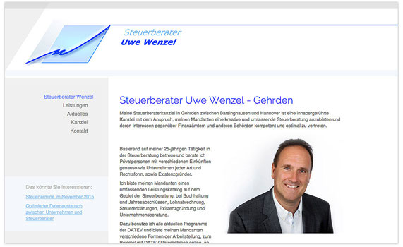 Website von StB Uwe Wenzel; WebDesign: Artwork3, Heidemarie Franz