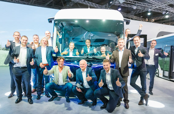 The MAN Scrum team at the 2018 IAA Commercial Vehicles for the market presentation of the CitE concept truck