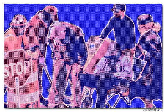 #streetlife #strassenleben #collage #nyc #baustelle #bauarbeiter #lieferung #zusteller #clouchar #obdachloser #divosantino #2018 #fotocollage