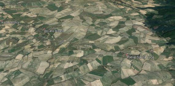 A sinistra, la carta geologica dell'area mette in risalto la conformazione a conca della zona di Orciano Pisano e fa pensare a un bacino marino poco profondo che, nel Pliocene, occupava questi terreni. Sopra, le colline maggiormente fossilifere.