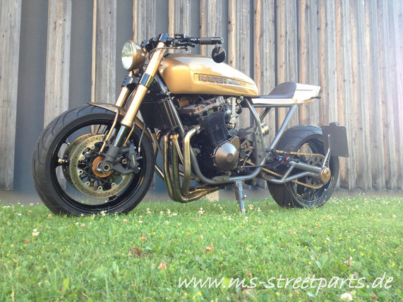 MS StreetParts Mocca Racer GSX Umbau gold Lackierung customize modify Cafe Racer Wenzenbach Regensburg