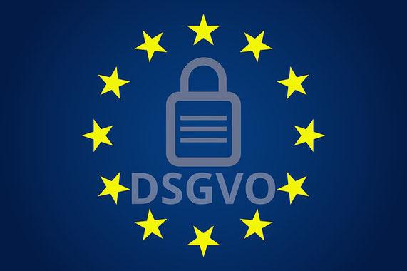 Bild: Logo DSGVO mit gelben Sternen auf blauem Hintergrund