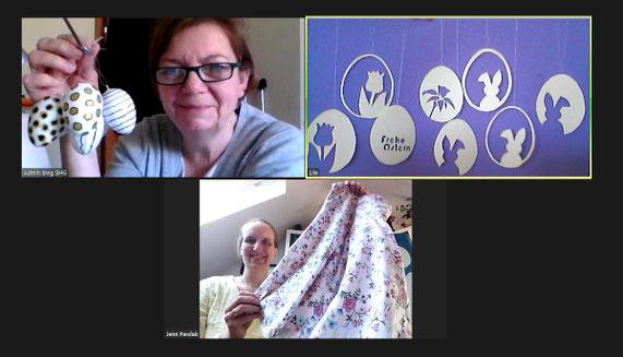 Drei Frauen der Selbsthilfegruppe in einer Zoom Konferenz. Sie haben sich zu einem kreativtreffen zusammengefunden.