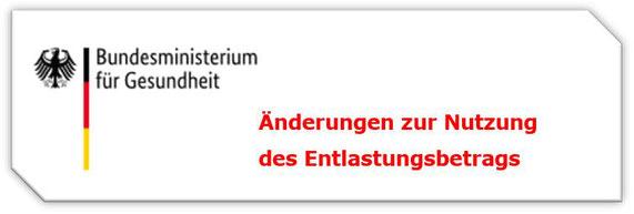 Logo des Bundesministeriums für Gesundheit mit Text: Änderung zur Nutzung des Entlastungsbetrags.