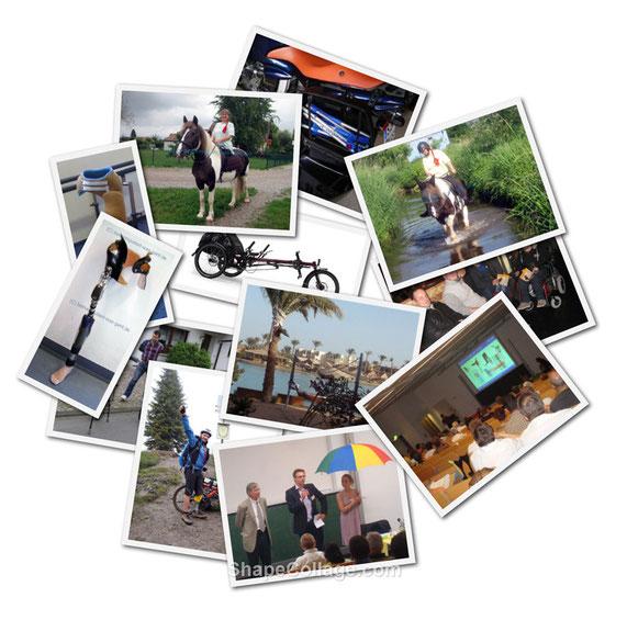 Bild: Foto-Collage. Es werden Menschen mit Amputation gezeigt. BEim Reiten, beim Rad fahren, im Vortragssaal als Redner. EIn Liegerad und eine Beckenkorbprothese.