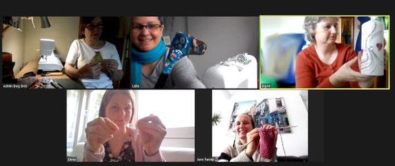 Kreatives Basteln online per zoom. bwg Teilnehmer beim Stricken, Kerzen bekleben, Nähen und Kette basteln.