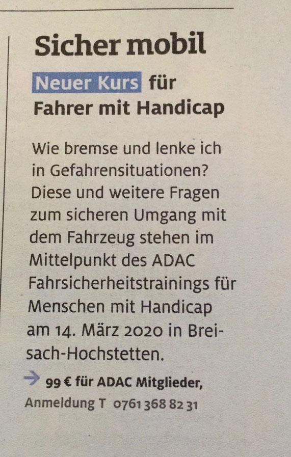 Anzeige des ADAC für ein Fahrsicherheitstraining für Fahrer mit Handicap in Breisach-Hochstetten