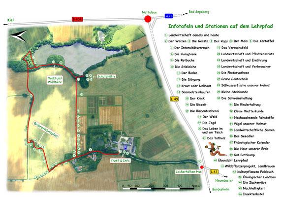 Übersichtsplan: Infotafeln und Stationen auf dem Lehrpfad Bothkamp