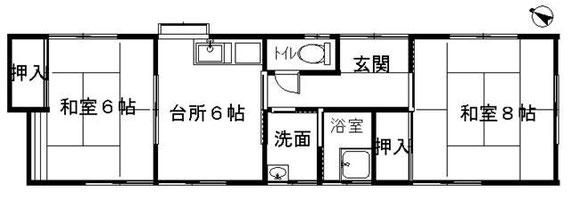 蜆塚3丁目長屋借家2DK