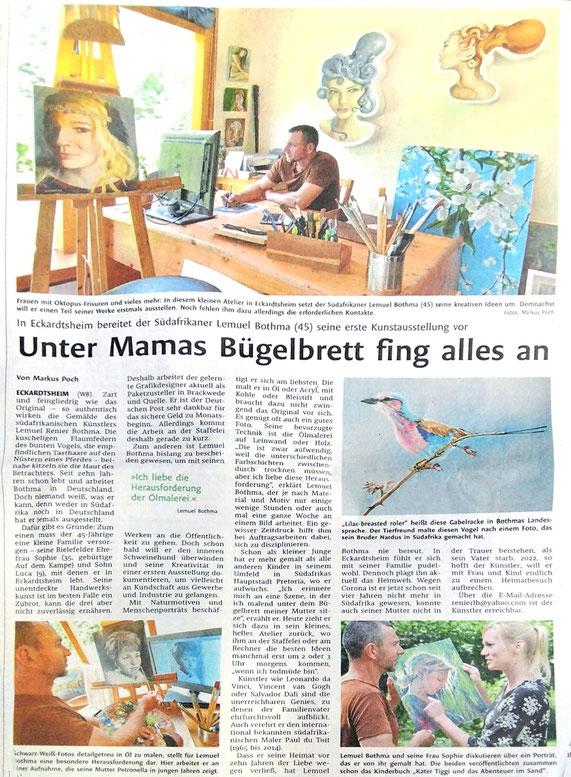 Erschienen im Westfalen Blatt vom 20. August 2021: Porträt des Bildkünstlers Lemuel Bothma.