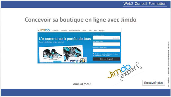 "Formation avec un jimdo Expert ""concevoir sa -boutique avec Jimdo"""