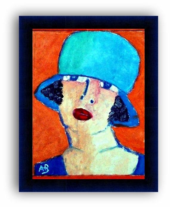 Portrait-Frau-Ölmalerei-Hut-Blau-Feminal-Moderne Malerei-Ölbild-Ölgemälde