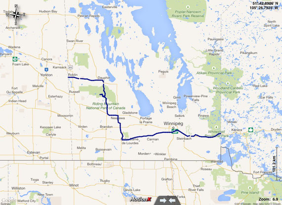 unsere gefahrene Route in Manitoba