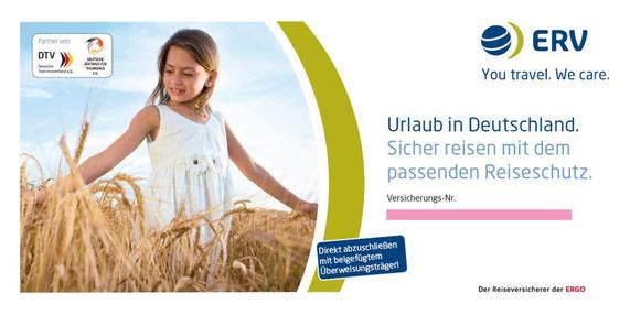 Deckblatt der Überweisungspolice der ERV für Reisen in Deutschland
