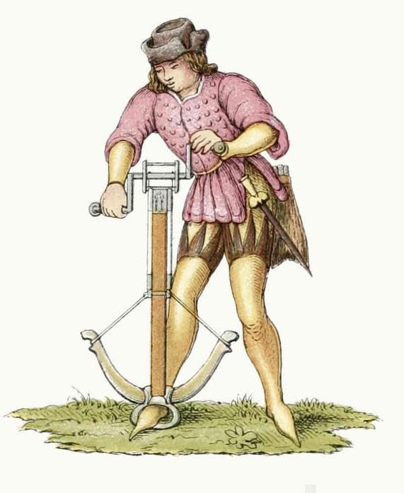 Winde mit doppeltem Flaschenzug zum Spannen der Armbrust (Fußbogen) aus dem Übergang des 15. in das 16. Jahrhundert