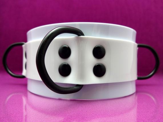 white PVC collar pvc collar white collar high collar d ring bdsm collar white slave collar witte halsband witte pvc halsband witte collar witte lak collar