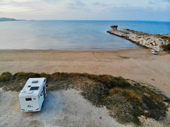 Wohnmobil, Wildcampen am Meer