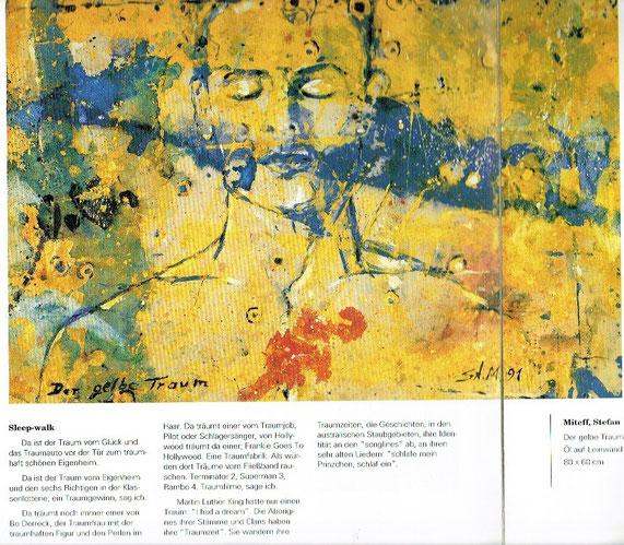 """Aus dem Ausstellungskatalog: Gruppenausstellung """"Das Gelbe vom Geld"""", Commerzbank Frankfurt a.M. / """"Der gelbe Traum"""", 1991, Dispersion auf Canvas,"""