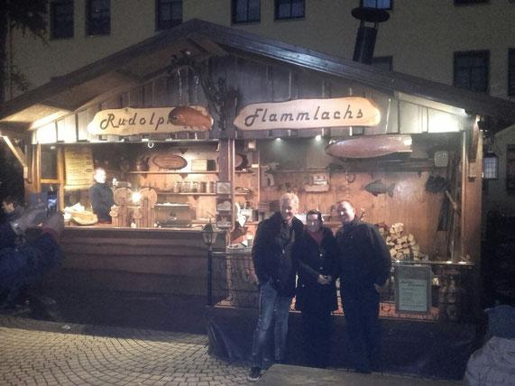 Olaf Berger als Gast am Flammlachs-Stand in Zwönitz :-)