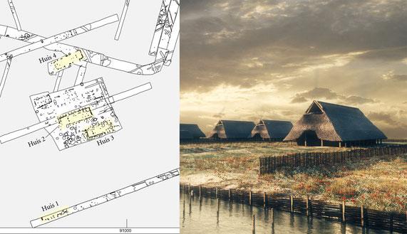 De opgravingsplattegrond door Archol en de reconstructie door Archeo3D (Hamburg 2008).