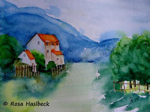 aquarell, landscht, gebirge, baum berge, bild, kunst, kaufen, blau, rot, grün