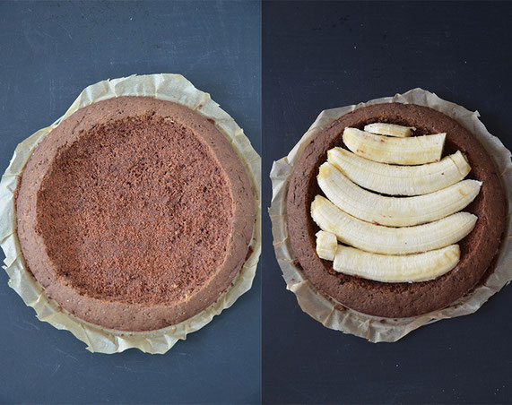 Step-by-step: Den Kuchen aushöhlen, mit Obst füllen und die Krümel aufbewahren, um später den Maulwurfhügel-Effekt zu erreichen.