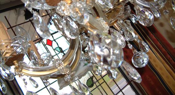 Kroonluchter, glas-in-lood, tiffany, raamhanger, oude lamp, vintage, antieke lamp, glaswerk