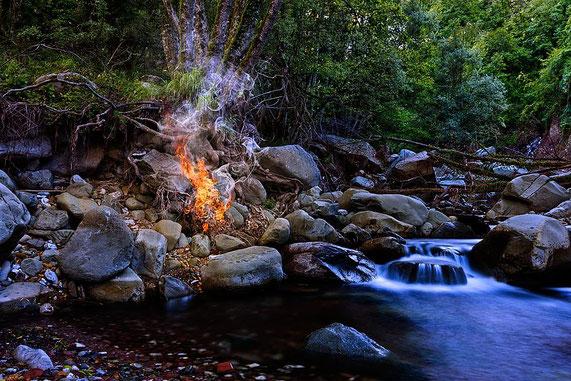 Fertige Fotomontage mit Feuer und Rauch