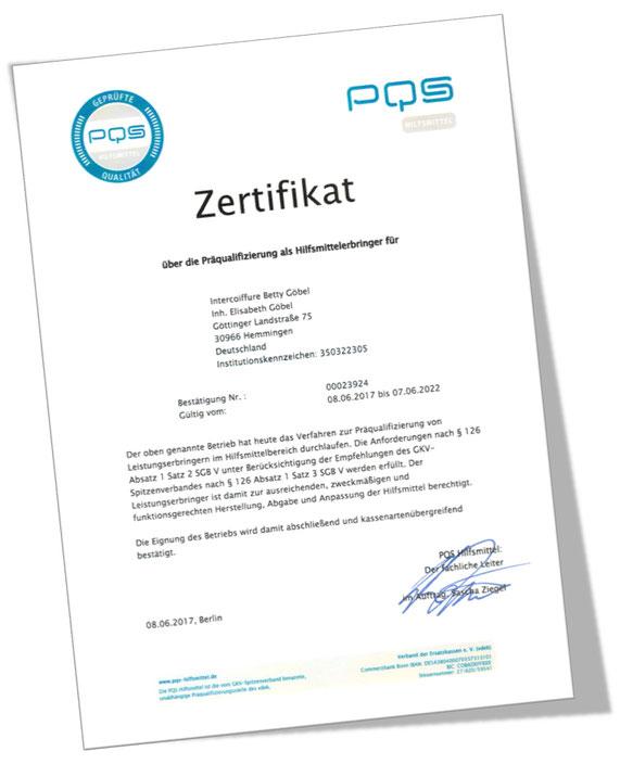 Zertifikat über die Präqualifizierung als Hilfsmittelerbringer