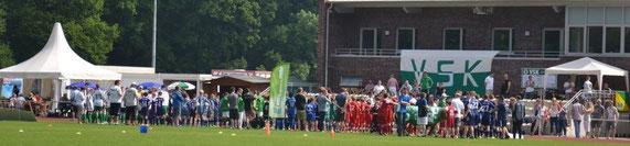Begrüßung der E-Junioren- und Handicapper-Mannschaften am Sonntag