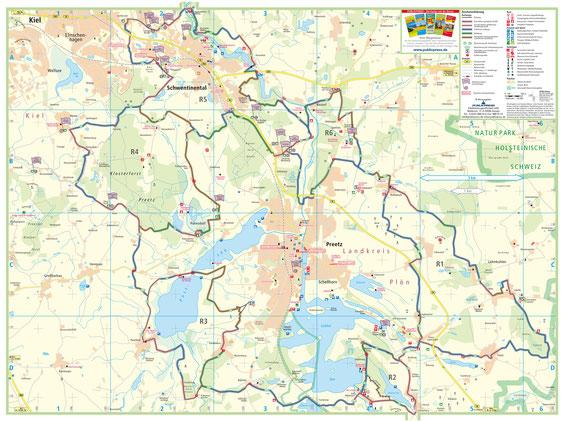 Übersichtskarte: Rundreitwege R1 bis R6