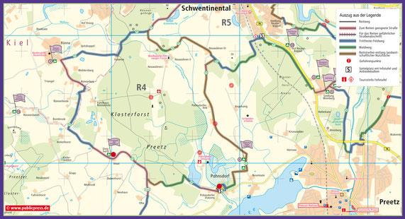 R4 mit den Sattelplätzen Dorfgemeinschaftshaus Pohnsdorf und Bewegungsstall Dinghorst