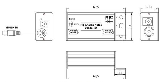 AHD/HD-TVI/CVI/CVBS 防犯 カメラ 電位差 横線 ノイズ 除去装置 SC-MHR01 - 寸法図