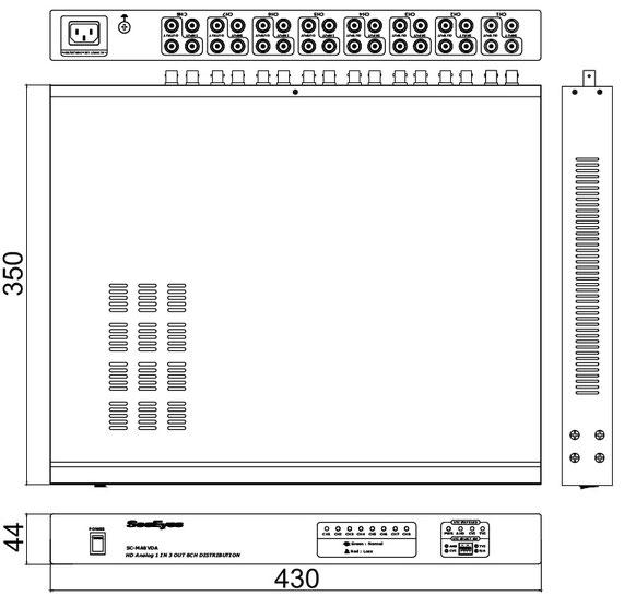 AHD/TVI/CVI/CVBS 1入力3出力x8チャンネル分配器 - 寸法図