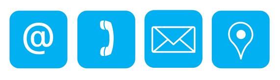 Kontaktbuttons. Webseite, Telefon, Email, Maps