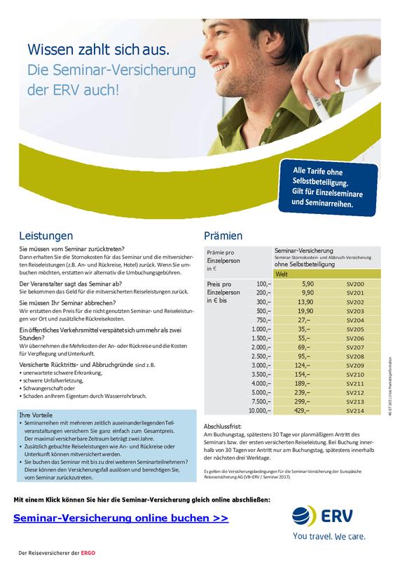 PDF-Flyer zur Seminar-Versicherung der ERV mit Preisen und Leistungen zur Absicherung der Seminar-Stornokosten