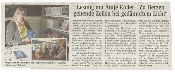 Peiner Allgemeine Zeitung, 11. April 2018 - Bericht zur Lesung