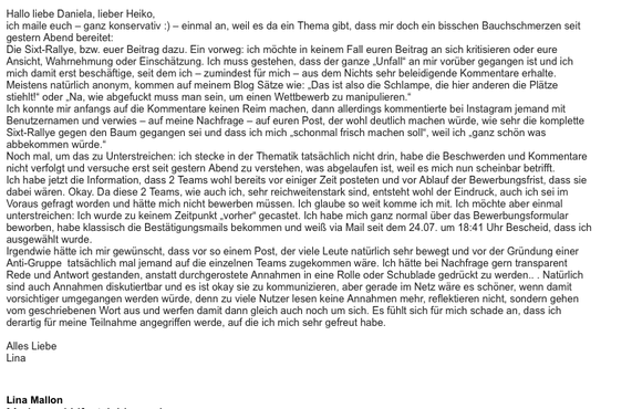 Linas E-Mail vom 09.08.14, ungekürzt und im Wortlaut.